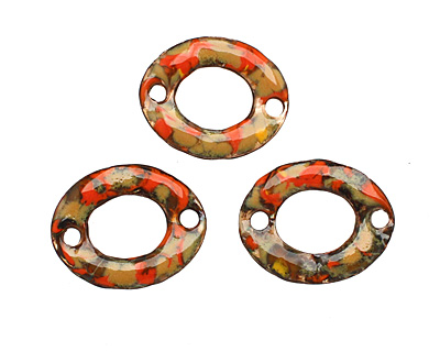C-Koop Enameled Metal Orange Mix Small Oval Link 18-20x15-16mm