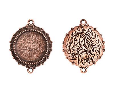 Nunn Design Antique Copper (plated) Large Ornate Circle Bezel Link 37x30mm