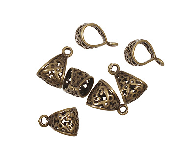 Antique Brass (plated) Large Filigree Bail 12x18mm