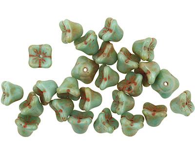 Czech Glass Picasso Blue Green Bellflower 6x7mm