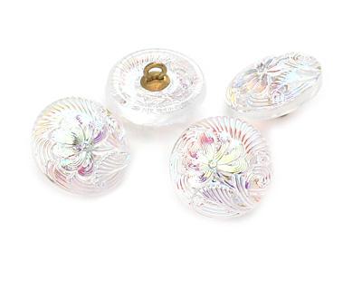 Czech Glass Iridescent Pearl Single Flower Button 18mm