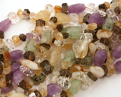 Multi Stone (Aventurine,Citrine & Rock) Side Drilled Faceted Nugget 7-23mm