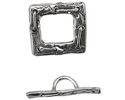 Rustic Charms Sterling Silver Heavy Laced Toggle Clasp 21mm, 27mm bar
