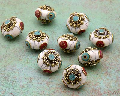 Tibetan White Shell & Brass w/ Turquoise Center Coin Bead 25mm