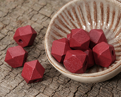 Barn Red Wood Faceted Nugget 10mm