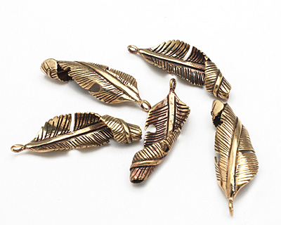 Saki Bronze Spiral Leaf Pendant 16x46mm