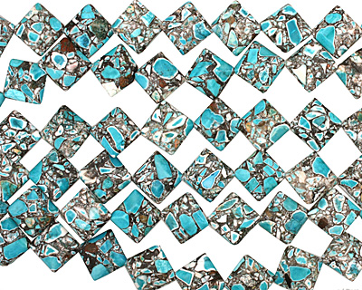 Blue Mosaic Magnesite Diamond 22mm