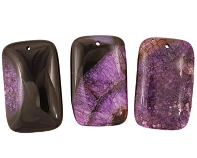 Black & Purple Agate Rectangle Pendant 35x55mm
