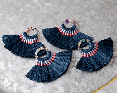 Navy Fanned Tassel on Garden Party Acetate Ring 70x45mm
