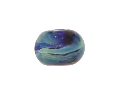 The BeadsNest Lampwork Glass Blue Rondelle 8-9x12-13mm