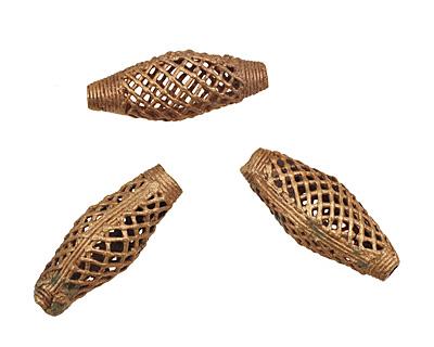 African Brass Criss Cross Rice 46-48x18-19mm