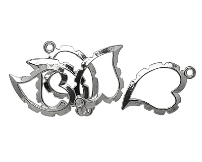 Artistic Wire Silver (plated) Curved Heart Wrapper 20x31mm
