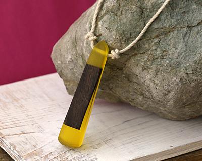 Wood & Lemon Resin Long Cut Drop Pendant 16x72mm