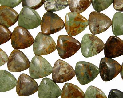 Petrified Green Opal Triangle 25mm