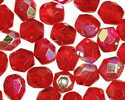 Czech Fire Polished Glass Ruby AB Round 4mm