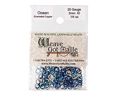 Ocean Mix Enameled Copper Round Jump Ring 4.5mm, 20 gauge