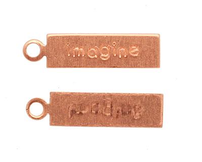 "Copper ""Imagine"" Rectangle Charm 5x21mm"