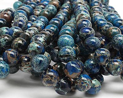 Midnight Blue Impression Jasper Round 12mm
