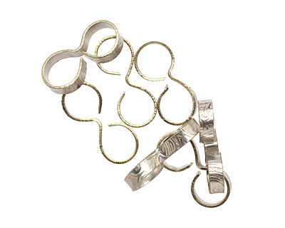 Trinket Foundry Silver (plated) Glass Ring Connector 20-21x8-9mm