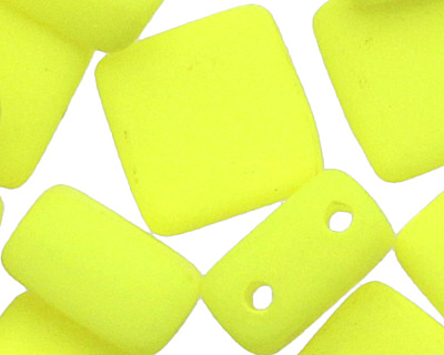 Czech Glass Bright Neon Yellow 2-Hole Tile 6mm
