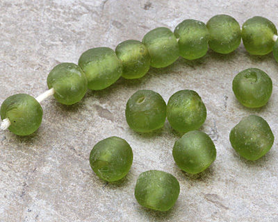 African Recycled Glass Forest Green Tumbled Round 12-16mm