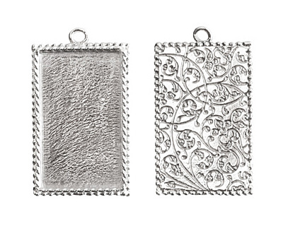 Nunn Design Sterling Silver (plated) Large Ornate Rectangle Bezel Pendant 25x43mm