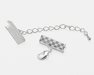 Artistic Wire Silver (plated) Mesh Clasp (w/ Extension Chain & Lobster Clasp) 18mm