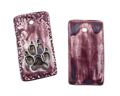 Earthenwood Studio Ceramic Amethyst Iron Pawprint Pendant 25x45mm