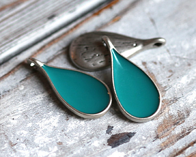Zola Elements Turquoise Enamel Antique Silver (plated) Teardrop Focal 11x24mm