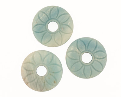 Amazonite Floral Carved Donut 40mm