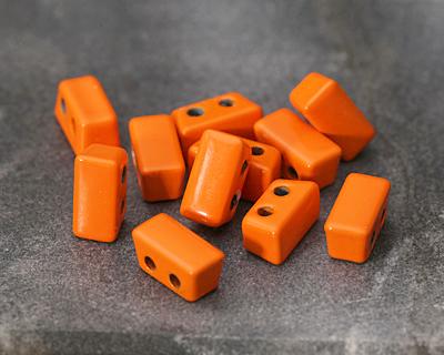 Orange Enamel 2-Hole Tile Thin Rectangle Bead 4x8mm