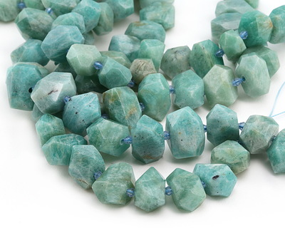 Brazil Amazonite Side-Drilled Faceted Nugget 12-15x19-21mm