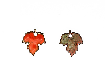 C-Koop Enameled Metal Flame Orange Maple Leaf 18x20mm