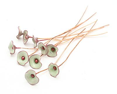 C-Koop Enameled Metal Lichen Green Small Flower Headpin 13mm