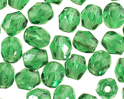 Czech Fire Polished Glass Luster Green Emerald Round 3mm