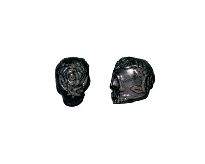 TierraCast Gunmetal Rose Skull Bead 10x7mm