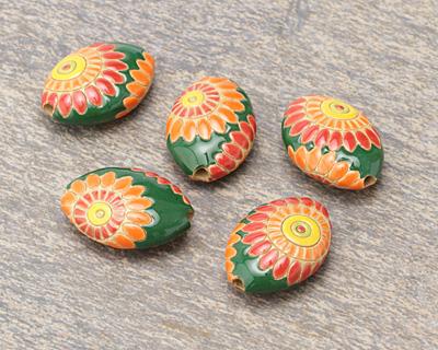 Golem Studio Orange Dragon Eye on Green Carved Ceramic Almond 24.5x19.5mm
