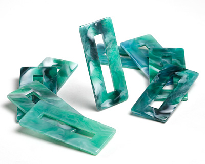 Zola Elements Emerald Marbled Acetate Rectangle Donut 22x49mm
