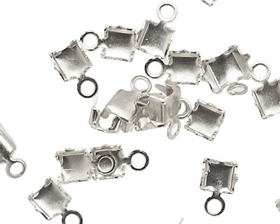 Silver (plated) 3mm Rhinestone Chain End Connector