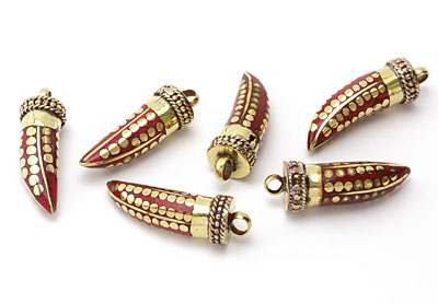 Tibetan Coral Horn with Brass Dots 13-15x42-46