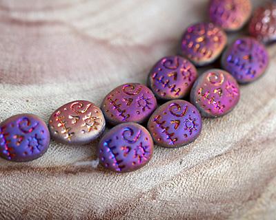 Czech Glass Matte Iris Purple Sugar Skull 16x13mm