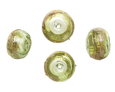 A Beaded Gift Grass Luxe Glass Rondelle (hollow) 13-15x19-23mm