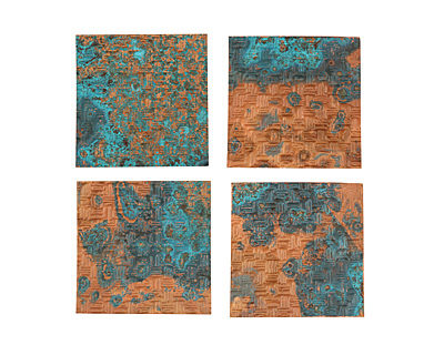 Lillypilly Azul Thatch Embossed Patina Copper Sheet 3