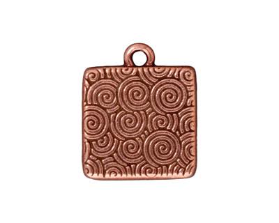 TierraCast Antique Copper (plated) Hammertone Square Frame Drop 19x22mm