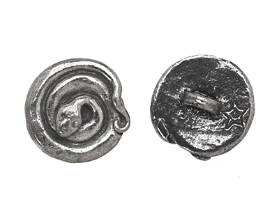 Green Girl Pewter Coiled Snake Button 16mm