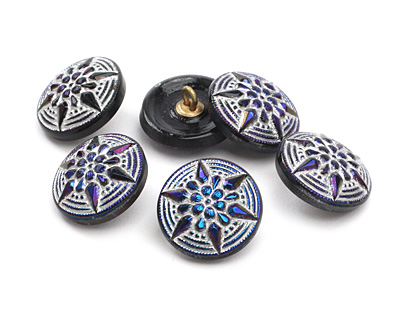 Czech Glass Cobalt w/ Silver Starflower Button 18mm