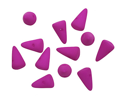 Czech Glass Dark Neon Vivacious Purple Baby Spike 4.5x8mm