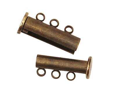Antique Brass (plated) 3 Loop Magnetic Slide Clasp 10x20mm