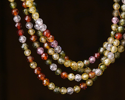 Multi Color Cubic Zirconia Faceted Round 3mm