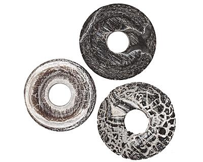 Black Fire Agate (matte) Donut 40mm
